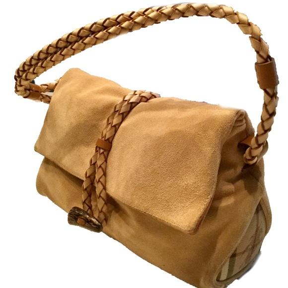 4ec41807bd2f Burberry Handbags - Burberry Horn Haymarket Check   Beige Suede Bag